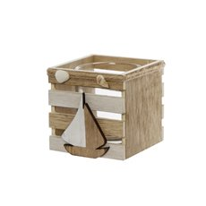 Coastal Tealight Crate Decoration (9.5X9.5X9cm)