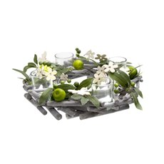 Green Apple Candle Ring Arrangement x4 Votive (20x14x8cmH)