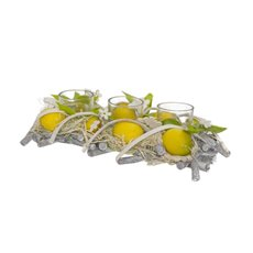 Lemon Candle Arrangement with Leaves x3 Votive (30x14x8cmH)
