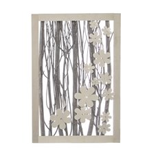 Wall Art Green Leaf Natural Branch White Wash (37x57x5.5cmH)