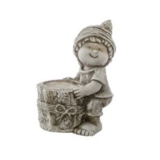 Home Seasonal Decorations - Ned Figurine Planter Stone Look with Pot (23x14x28cmH )