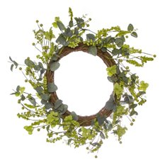 Home Seasonal Decorations - Floral Garden Wreath Green (56cmD)