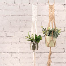 Hanging Pots - Macrame Hanging Pot Holder Boho White (105cm)