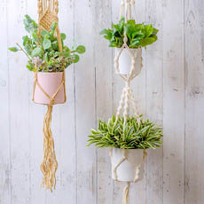 Hanging Pots - Macrame Hanging Double Pot Holder Twist Natural (140cm)