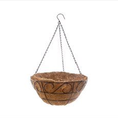 Home Seasonal Decorations - Metal Hanging Basket Scroll with Insert (30.5cm)
