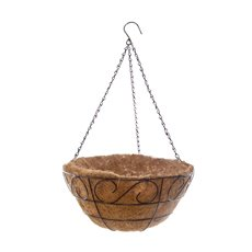 Home Seasonal Decorations - Metal Hanging Basket Scroll with Insert (35.5cm)