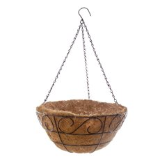 Home Seasonal Decorations - Metal Hanging Basket Scroll with Insert (40.5cm)