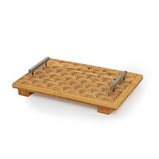 Natural Decorations - Wooden Tray with Metal Handles (32x22cm)