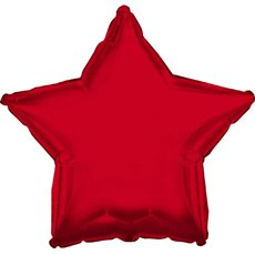 Foil Balloon 17 (42.5cm Dia) STAR Shape Red