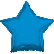 Foil Balloons - Foil Balloon 17 (42.5cm Dia) STAR Shape Solid Blue