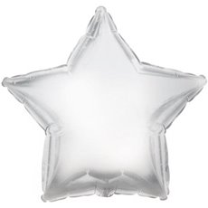 Foil Balloons - Foil Balloon 17 (42.5cm Dia) STAR Shape Solid Plat Silver