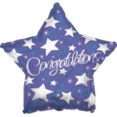 Foil Balloon 17  Star Congratulations Silver Star & Swirls