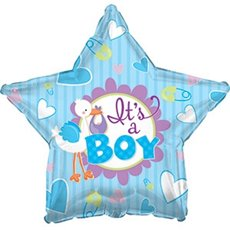 Foil Balloons - Foil Balloon 17 (42.5cm Dia) STAR Its A Boy Stork