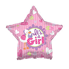 Foil Balloons - Foil Balloon 17 (42.5cm Dia) STAR Its A Girl Stork