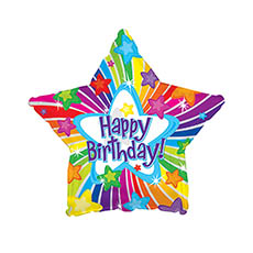 Foil Balloon 17  Star Happy Birthday Bright Stars