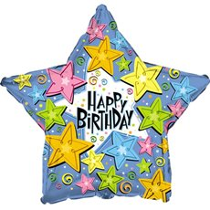 Foil Balloons - Foil Balloon 17 (42.5cm Dia) STAR Birthday Happy Stars