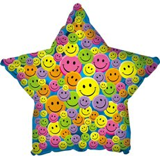 Foil Balloon 17  Star Smiley Face Star