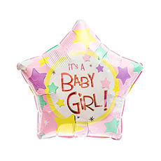 Foil Balloons - Foil Balloon 17 (42.5cm Dia) STAR Shape Its A Girl Pink