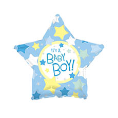 Foil Balloons - Foil Balloon 17 (42.5cm Dia) STAR Shape Its A Boy Blue