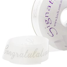 Florist & Gift Poly Tear Ribbons - Premium Tear Ribbon Congratulations White Silver (30mmx91m)