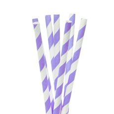 Striped Paper Straws 20 Pack Purple (20cmH)