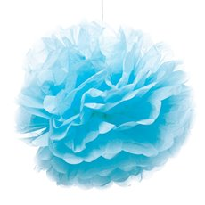 Party Decorations - Hanging Tissue Pom Pom Blue (50cmD)