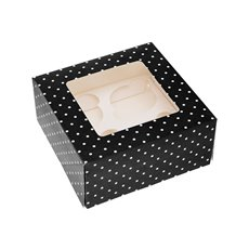 Dotted Cupcake Holder 2 Pack Black  (16x16x7.5cmH)