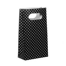 Dotted Party Bag 4 Pack Black (10x18cmH)