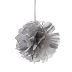 Party Decorations - Hanging Tissue Pom Pom Metallic Silver (30cmD)