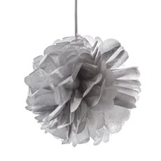 Party Decorations - Hanging Tissue Pom Pom Metallic Silver  (40cmD)