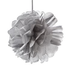 Party Decorations - Hanging Tissue Pom Pom Metallic Silver (50cmD)