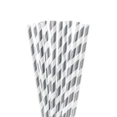 Paper Straws - Striped Paper Straws Silver (20cmH) Pack 20