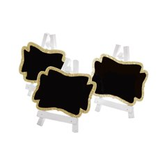 Party Decorations - Mini Blackboard Giltter Gold (7x8cmH) Pack 3