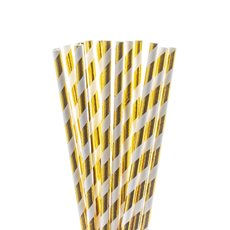 Paper Straws - Striped Paper Straws Gold (20cmH) Pack 20