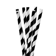 Striped Paper Straws 20 Pack Black (20cmH)