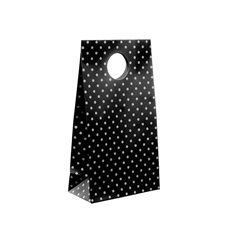 Dotted Party Bag 6 Pack Black (10x18cmH)