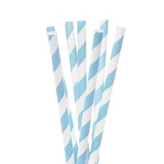 Paper Straws - Striped Paper Straws Blue (20cmH) Pack 20