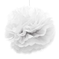 Party Decorations - Hanging Tissue Pom Pom White (50cmD)