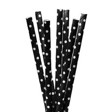 Dotted Paper Straws 20 Pack Black (20cmH)