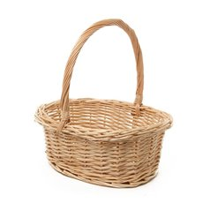 Willow Basket with Handle Oval Natural (33x28x13cmH)