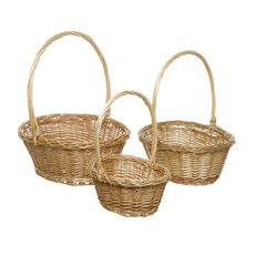 Baskets with Handles - Willow Basket with Handle Oval Set of 3 Natural(33x28x13cmH)