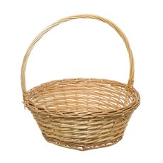 Willow Basket with Handle Round Natural (35cmDx13cmH)