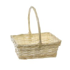 Baskets with Handles - Willow Basket Flora Rectangle Handle Natural (26x21x10cmH)