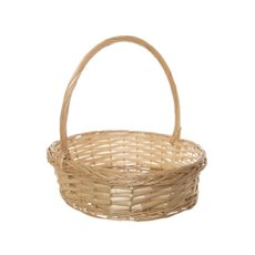 Willow Basket Floral Oval with Handle Natural (37x31x10cmH)