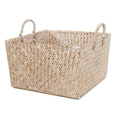 Basket Storage Square w/Handles PC 32x32x19cmH Natural
