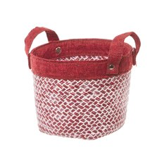 Basket Storage Planter Round w/Handles 16.5Dx13cmH Red