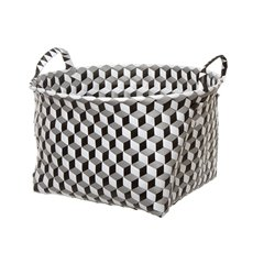 Diamond Storage Basket Round Black (43x24cmH)