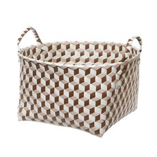 Diamond Storage Basket Round Brown (43x24cmH)