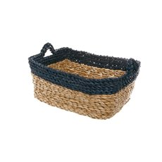 Maize Woven Storage Basket Rectangle Navy (35x25x15cmH)