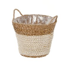Maize Woven Planter with PVC Liner Natural&Beige(28Dx24cmH)